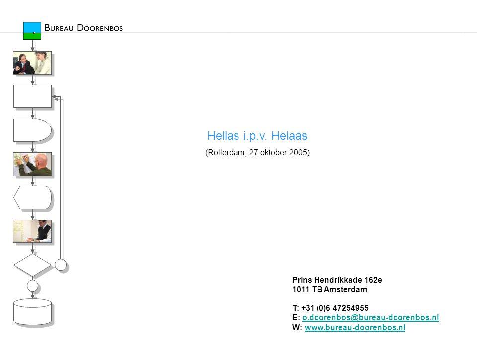 Hellas i.p.v. Helaas (Rotterdam, 27 oktober 2005) Prins Hendrikkade 162e 1011 TB Amsterdam T: +31 (0)6 47254955 E: o.doorenbos@bureau-doorenbos.nl W: