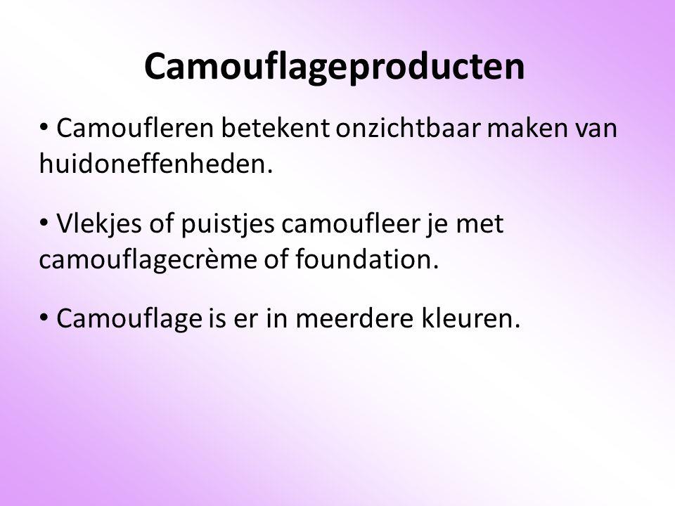 Camouflageproducten Camoufleren betekent onzichtbaar maken van huidoneffenheden. Vlekjes of puistjes camoufleer je met camouflagecrème of foundation.