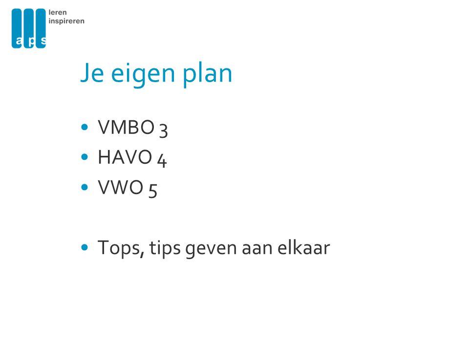 Je eigen plan VMBO 3 HAVO 4 VWO 5 Tops, tips geven aan elkaar