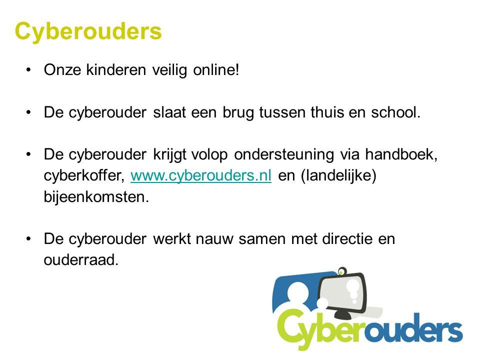 Cyberouders Onze kinderen veilig online! De cyberouder slaat een brug tussen thuis en school. De cyberouder krijgt volop ondersteuning via handboek, c