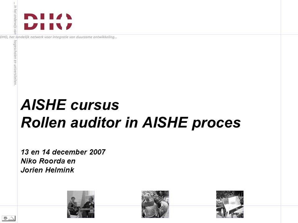 AISHE cursus Rollen auditor in AISHE proces 13 en 14 december 2007 Niko Roorda en Jorien Helmink