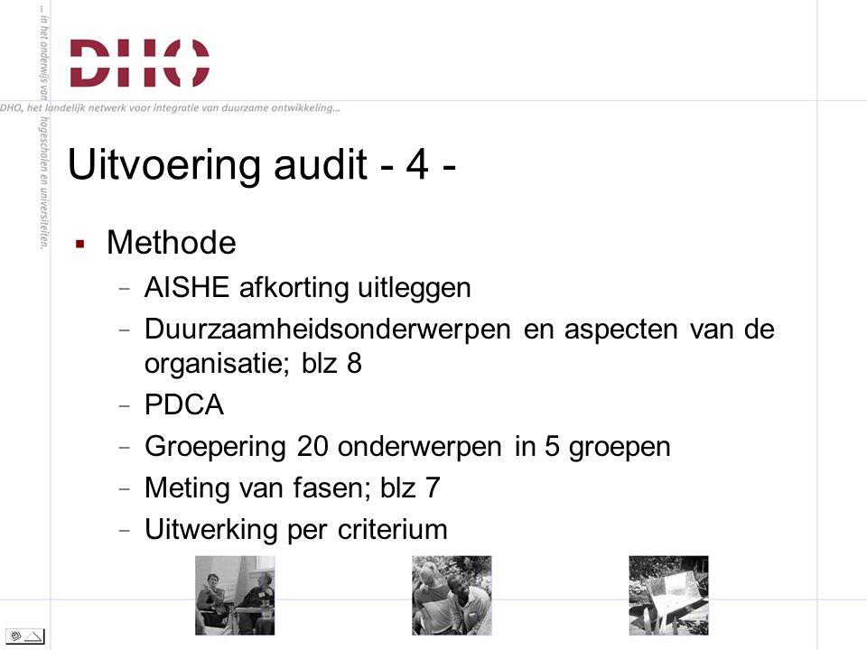 Uitvoering audit - 4 -  Methode − AISHE afkorting uitleggen − Duurzaamheidsonderwerpen en aspecten van de organisatie; blz 8 − PDCA − Groepering 20 onderwerpen in 5 groepen − Meting van fasen; blz 7 − Uitwerking per criterium