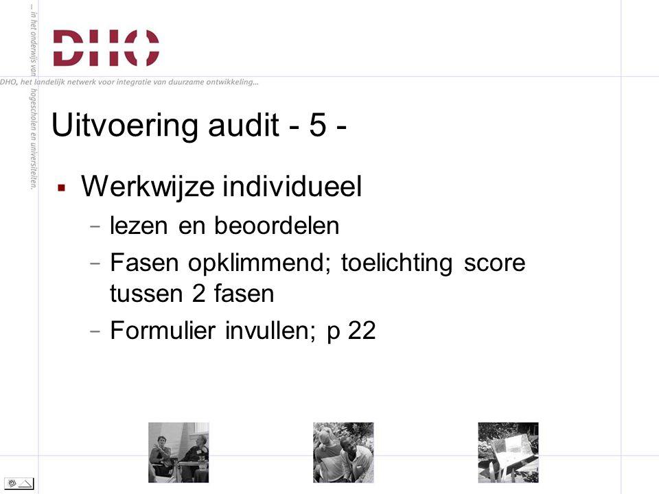 Uitvoering audit - 5 -  Werkwijze individueel − lezen en beoordelen − Fasen opklimmend; toelichting score tussen 2 fasen − Formulier invullen; p 22