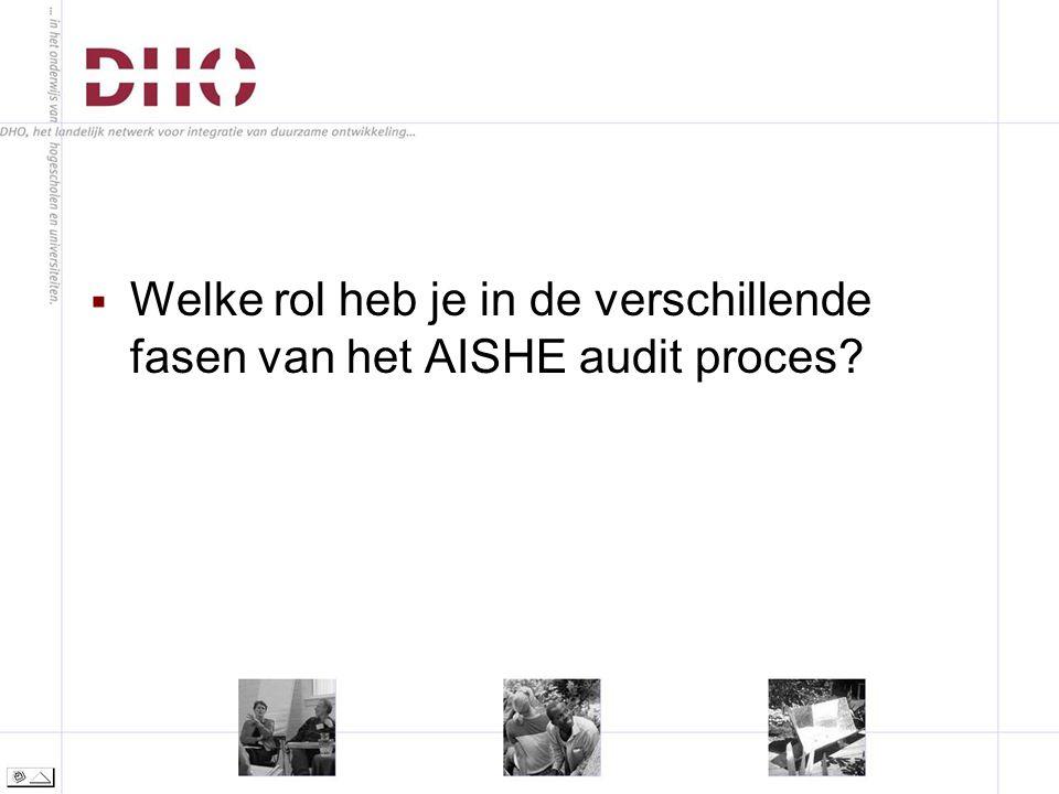  Welke rol heb je in de verschillende fasen van het AISHE audit proces
