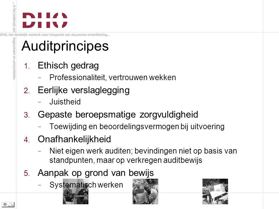 Auditprincipes 1. Ethisch gedrag − Professionaliteit, vertrouwen wekken 2.