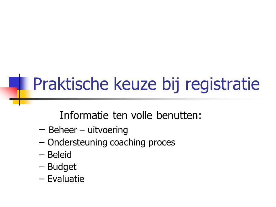 Praktische keuze bij registratie Informatie ten volle benutten: – Beheer – uitvoering – Ondersteuning coaching proces – Beleid – Budget – Evaluatie
