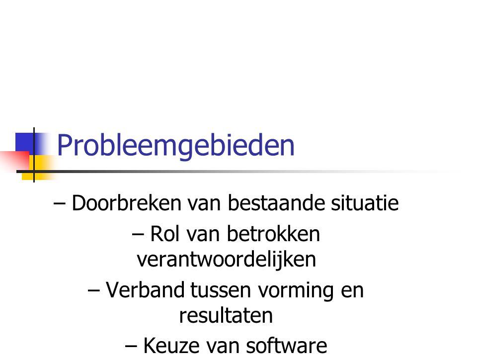 Probleemgebieden – Doorbreken van bestaande situatie – Rol van betrokken verantwoordelijken – Verband tussen vorming en resultaten – Keuze van softwar