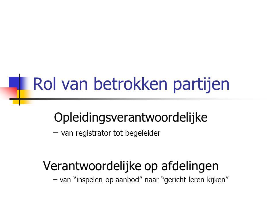 Rol van betrokken partijen Opleidingsverantwoordelijke – van registrator tot begeleider Verantwoordelijke op afdelingen – van inspelen op aanbod naar gericht leren kijken