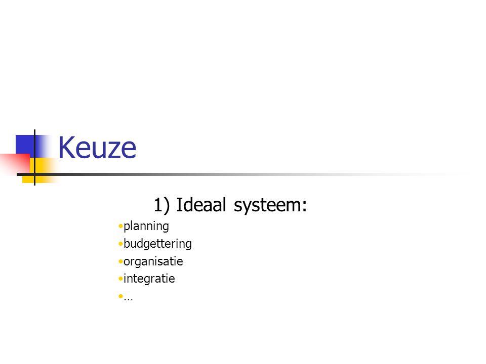 Keuze 1) Ideaal systeem: planning budgettering organisatie integratie …