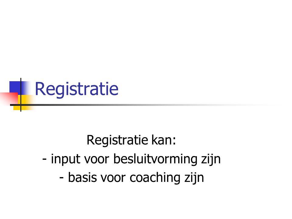 Registratie Registratie kan: - input voor besluitvorming zijn - basis voor coaching zijn