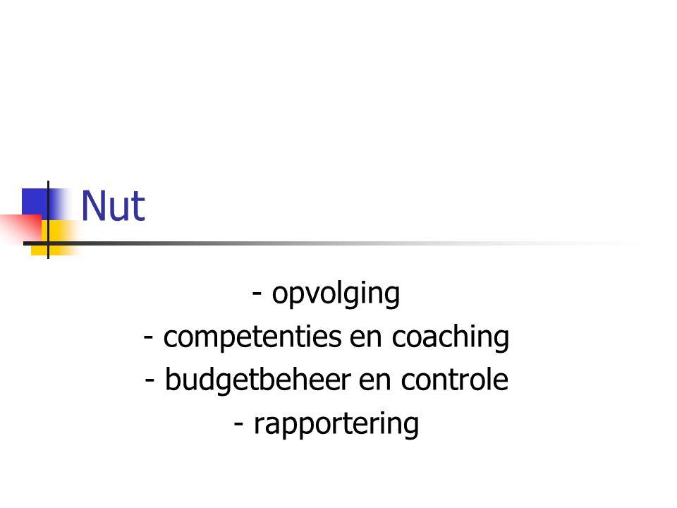 Nut - opvolging - competenties en coaching - budgetbeheer en controle - rapportering