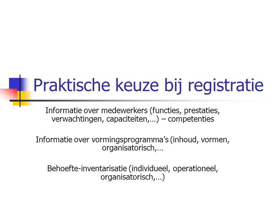 Praktische keuze bij registratie Informatie over medewerkers (functies, prestaties, verwachtingen, capaciteiten,…) – competenties Informatie over vormingsprogramma's (inhoud, vormen, organisatorisch,… Behoefte-inventarisatie (individueel, operationeel, organisatorisch,…)