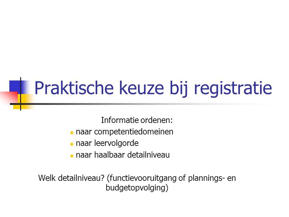Praktische keuze bij registratie Informatie ordenen: naar competentiedomeinen naar leervolgorde naar haalbaar detailniveau Welk detailniveau? (functie