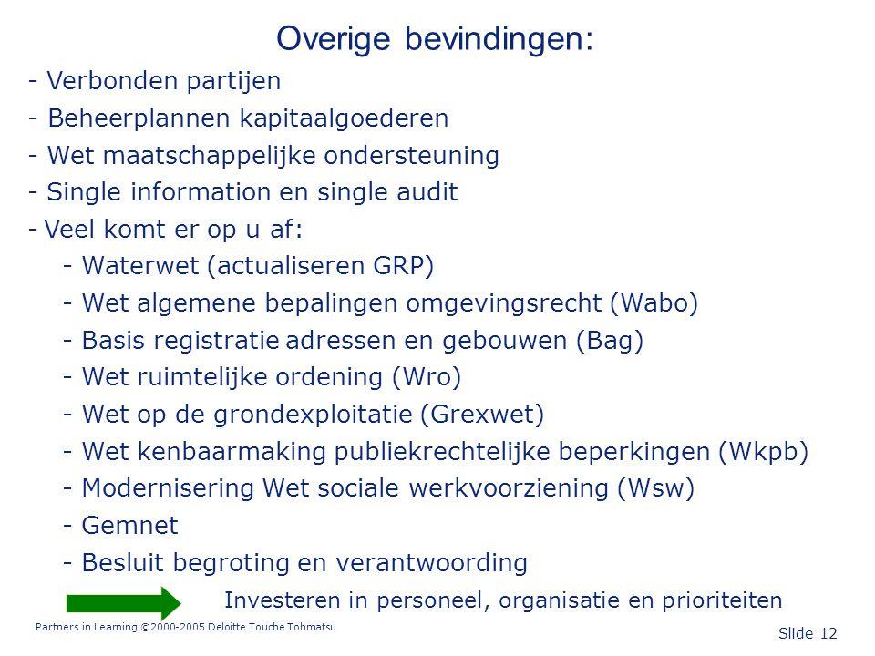 Partners in Learning ©2000-2005 Deloitte Touche Tohmatsu Slide 12 Overige bevindingen: - Verbonden partijen - Beheerplannen kapitaalgoederen - Wet maa