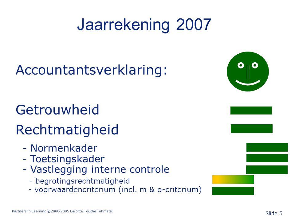 Partners in Learning ©2000-2005 Deloitte Touche Tohmatsu Slide 5 Jaarrekening 2007 Accountantsverklaring: Getrouwheid Rechtmatigheid - Normenkader - T