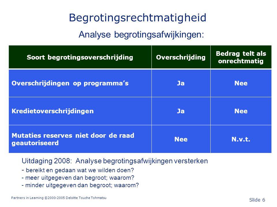 Partners in Learning ©2000-2005 Deloitte Touche Tohmatsu Slide 6 Begrotingsrechtmatigheid Analyse begrotingsafwijkingen: Soort begrotingsoverschrijdin