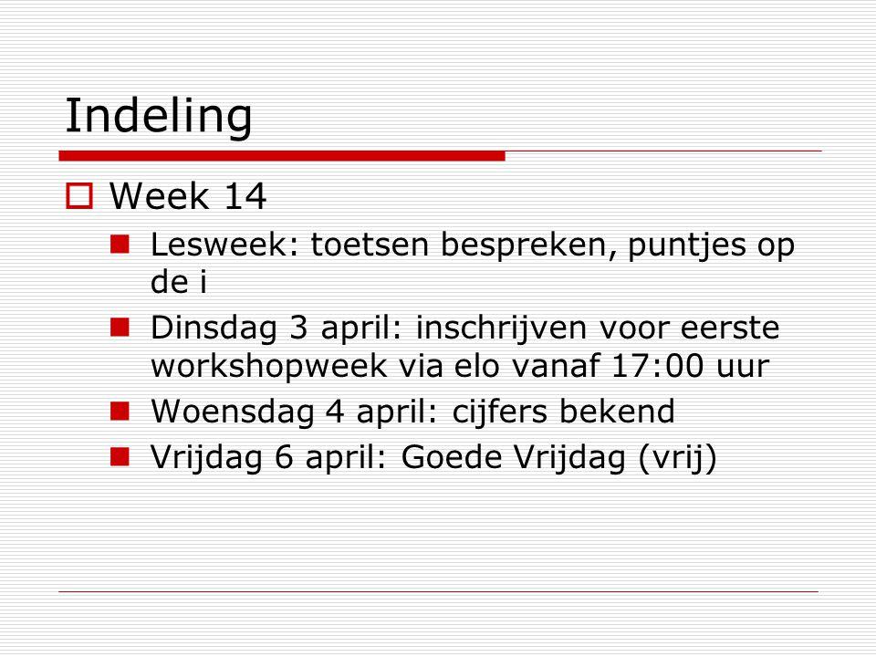 Indeling  Week 14 Lesweek: toetsen bespreken, puntjes op de i Dinsdag 3 april: inschrijven voor eerste workshopweek via elo vanaf 17:00 uur Woensdag 4 april: cijfers bekend Vrijdag 6 april: Goede Vrijdag (vrij)