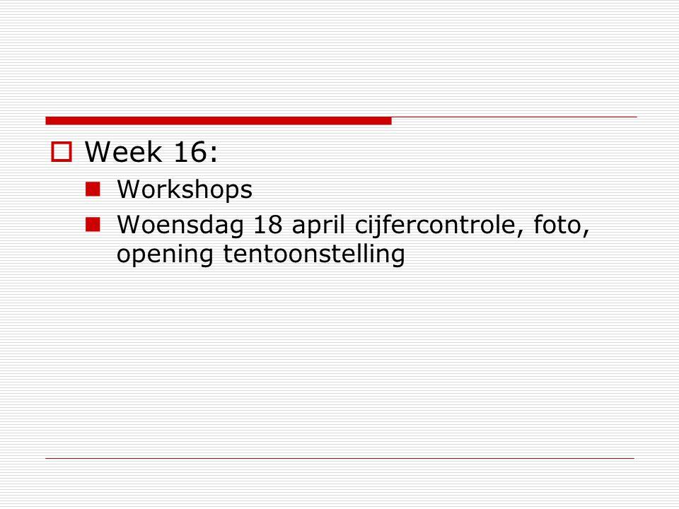  Week 16: Workshops Woensdag 18 april cijfercontrole, foto, opening tentoonstelling