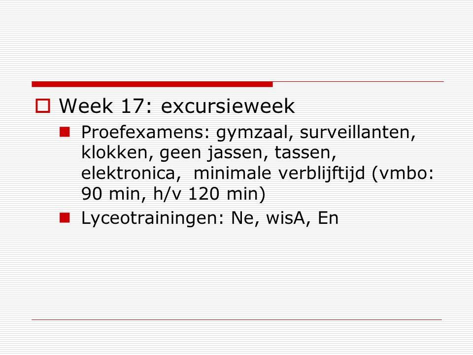  Week 17: excursieweek Proefexamens: gymzaal, surveillanten, klokken, geen jassen, tassen, elektronica, minimale verblijftijd (vmbo: 90 min, h/v 120 min) Lyceotrainingen: Ne, wisA, En
