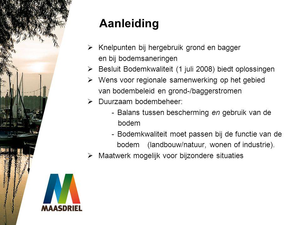 Aanleiding  Knelpunten bij hergebruik grond en bagger en bij bodemsaneringen  Besluit Bodemkwaliteit (1 juli 2008) biedt oplossingen  Wens voor reg