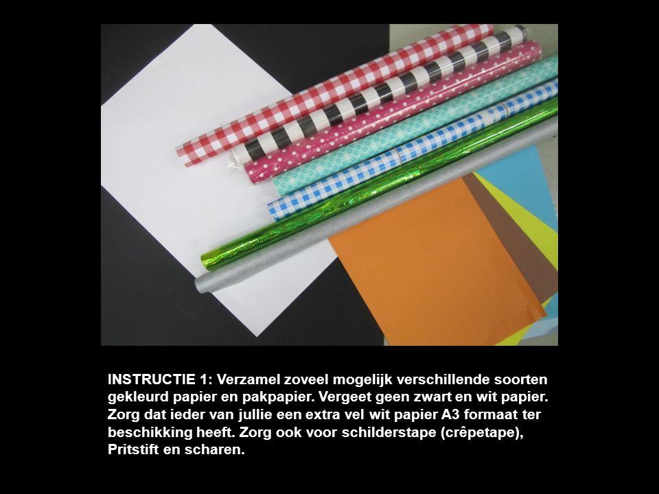 INSTRUCTIE 1: Verzamel zoveel mogelijk verschillende soorten gekleurd papier en pakpapier. Vergeet geen zwart en wit papier. Zorg dat ieder van jullie