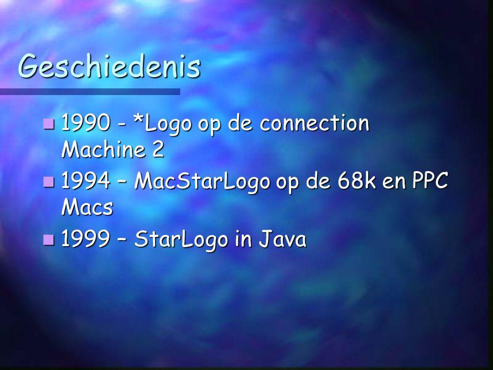Geschiedenis 1990 - *Logo op de connection Machine 2 1990 - *Logo op de connection Machine 2 1994 – MacStarLogo op de 68k en PPC Macs 1994 – MacStarLogo op de 68k en PPC Macs 1999 – StarLogo in Java 1999 – StarLogo in Java
