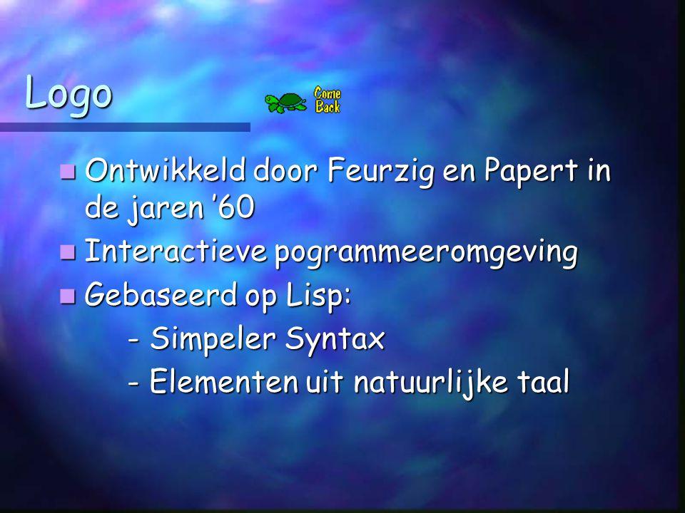 Logo Ontwikkeld door Feurzig en Papert in de jaren '60 Ontwikkeld door Feurzig en Papert in de jaren '60 Interactieve pogrammeeromgeving Interactieve pogrammeeromgeving Gebaseerd op Lisp: Gebaseerd op Lisp: - Simpeler Syntax - Elementen uit natuurlijke taal