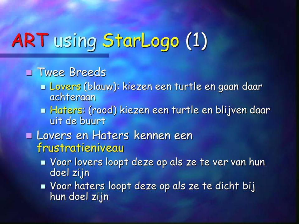 ART using StarLogo (1) Twee Breeds Twee Breeds Lovers (blauw): kiezen een turtle en gaan daar achteraan Lovers (blauw): kiezen een turtle en gaan daar achteraan Haters: (rood) kiezen een turtle en blijven daar uit de buurt Haters: (rood) kiezen een turtle en blijven daar uit de buurt Lovers en Haters kennen een frustratieniveau Lovers en Haters kennen een frustratieniveau Voor lovers loopt deze op als ze te ver van hun doel zijn Voor lovers loopt deze op als ze te ver van hun doel zijn Voor haters loopt deze op als ze te dicht bij hun doel zijn Voor haters loopt deze op als ze te dicht bij hun doel zijn