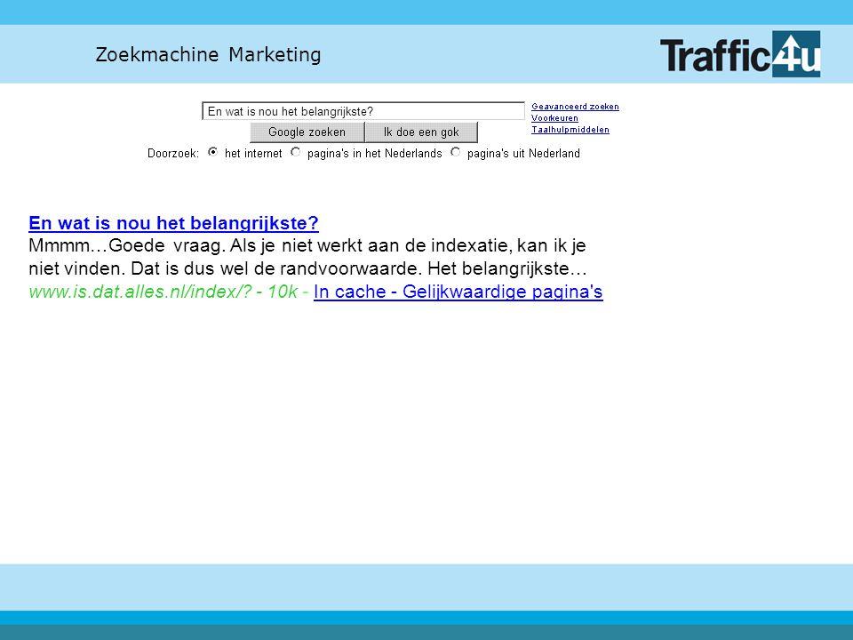Zoekmachine Marketing En wat is nou het belangrijkste? En wat is nou het belangrijkste? Mmmm…Goede vraag. Als je niet werkt aan de indexatie, kan ik j