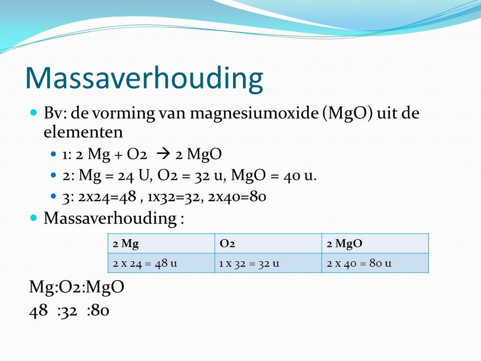 Massaverhouding Bv: de vorming van magnesiumoxide (MgO) uit de elementen 1: 2 Mg + O2  2 MgO 2: Mg = 24 U, O2 = 32 u, MgO = 40 u. 3: 2x24=48, 1x32=32