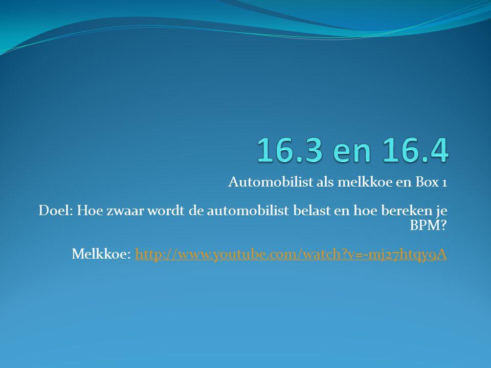 Automobilist als melkkoe en Box 1 Doel: Hoe zwaar wordt de automobilist belast en hoe bereken je BPM? Melkkoe: http://www.youtube.com/watch?v=-mj27htq