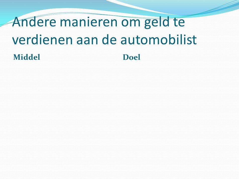 Andere manieren om geld te verdienen aan de automobilist Middel Doel