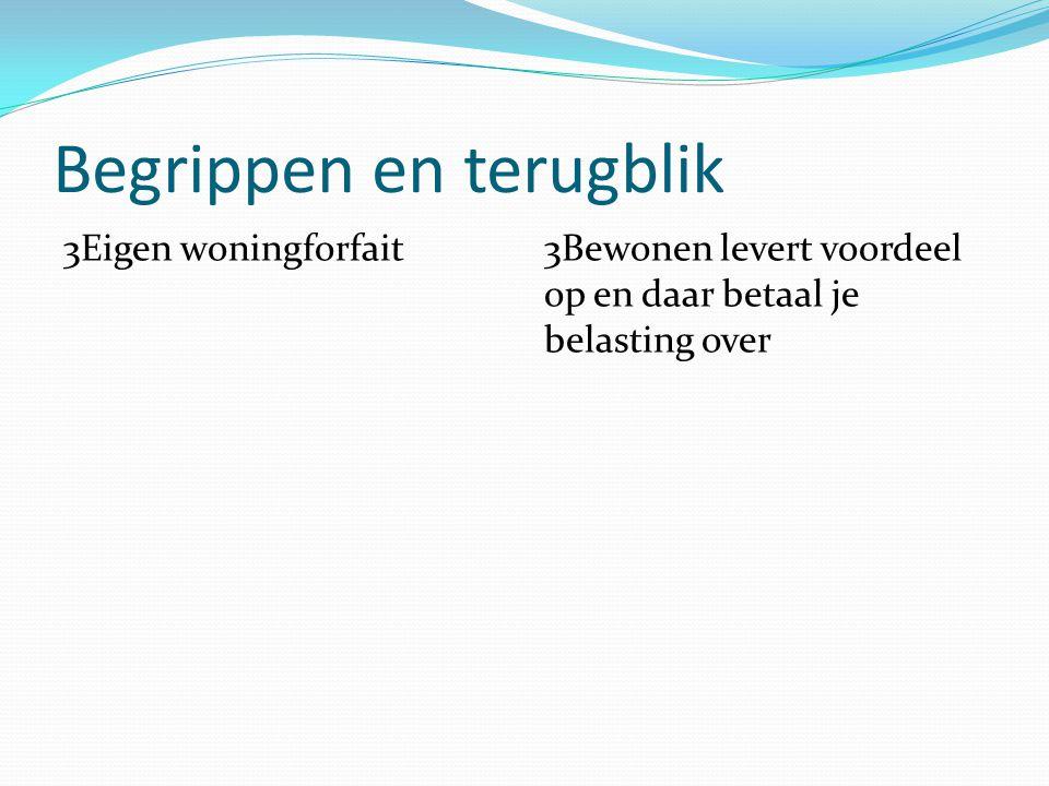 Begrippen en terugblik 3Eigen woningforfait3Bewonen levert voordeel op en daar betaal je belasting over