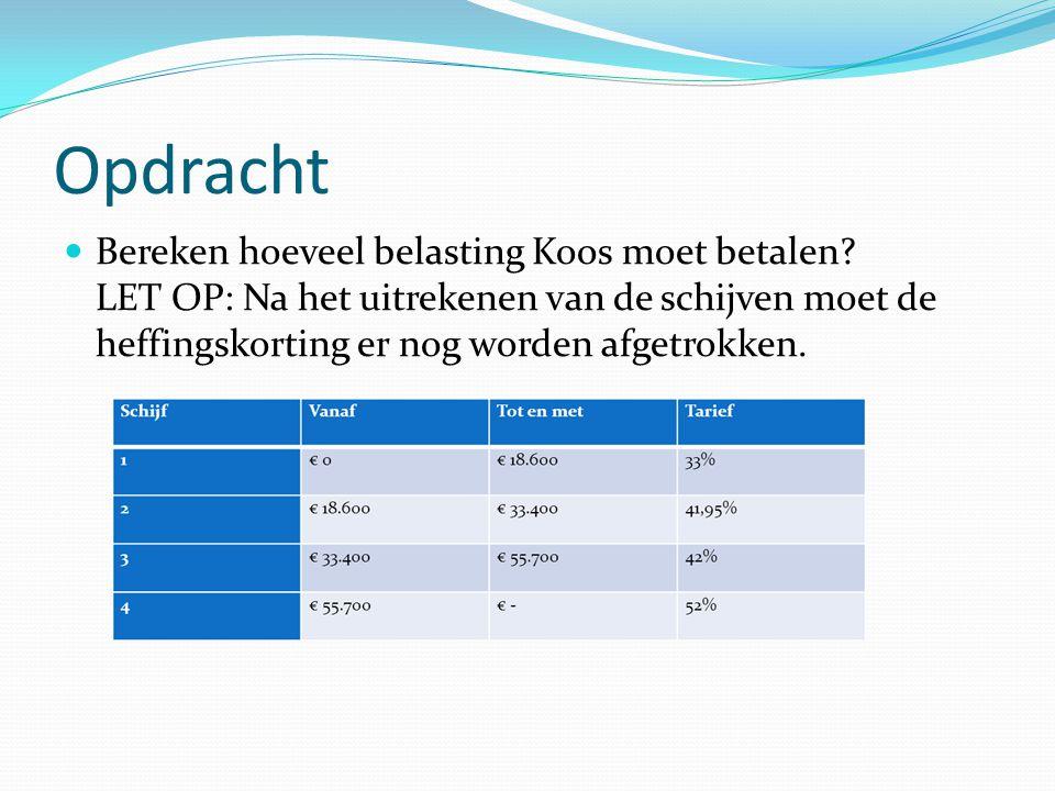 Opdracht Bereken hoeveel belasting Koos moet betalen? LET OP: Na het uitrekenen van de schijven moet de heffingskorting er nog worden afgetrokken.