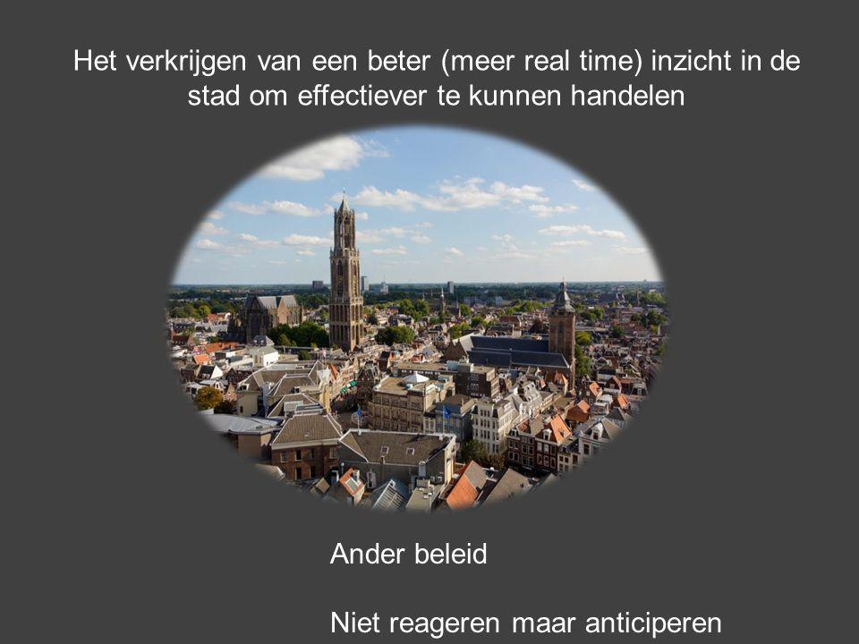 Het verkrijgen van een beter (meer real time) inzicht in de stad om effectiever te kunnen handelen Ander beleid Niet reageren maar anticiperen