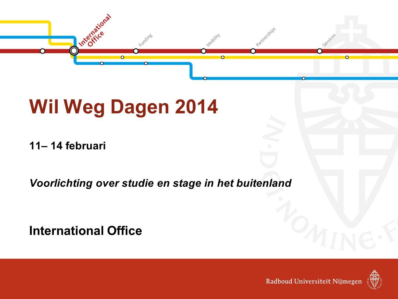 Wil Weg Dagen 2014 11– 14 februari Voorlichting over studie en stage in het buitenland International Office