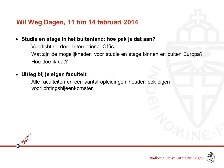 Wil Weg Dagen, 11 t/m 14 februari 2014  Studie en stage in het buitenland: hoe pak je dat aan.