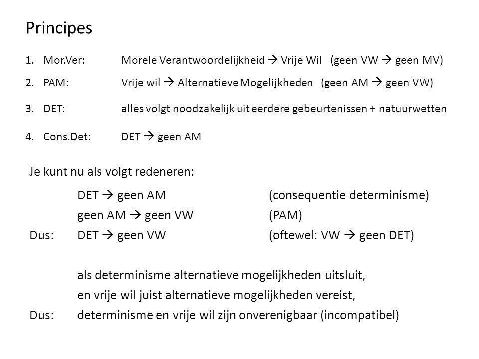Principes 1.Mor.Ver:Morele Verantwoordelijkheid  Vrije Wil (geen VW  geen MV) 2.PAM: Vrije wil  Alternatieve Mogelijkheden (geen AM  geen VW) 3.DET: alles volgt noodzakelijk uit eerdere gebeurtenissen + natuurwetten 4.Cons.Det: DET  geen AM 5.INCOMP:DET  geen VW(VW  geen DET) 6.Harde DETINCOMP + DET 7.LIBERTARISTINCOMP + VW 8.UOPHandeling uit VW vindt plaats op grond van onveroorzaakte keuze