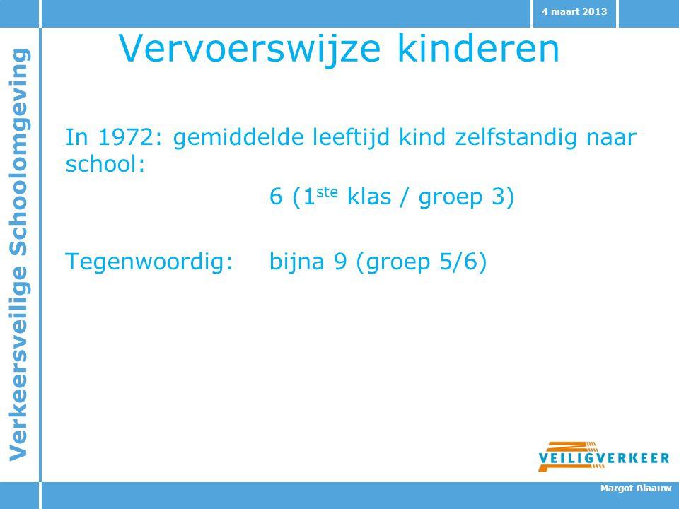 Verkeersveilige Schoolomgeving Margot Blaauw 4 maart 2013 Vervoerswijze kinderen In 1972: gemiddelde leeftijd kind zelfstandig naar school: 6 (1 ste k