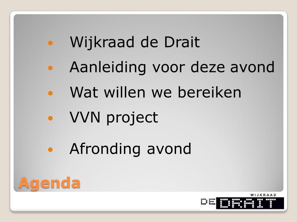 Agenda Wijkraad de Drait Aanleiding voor deze avond Wat willen we bereiken VVN project Afronding avond