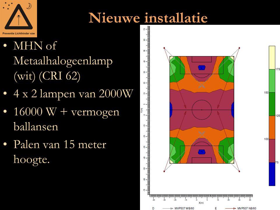 Nieuwe installatie MHN of Metaalhalogeenlamp (wit) (CRI 62) 4 x 2 lampen van 2000W 16000 W + vermogen ballansen Palen van 15 meter hoogte.