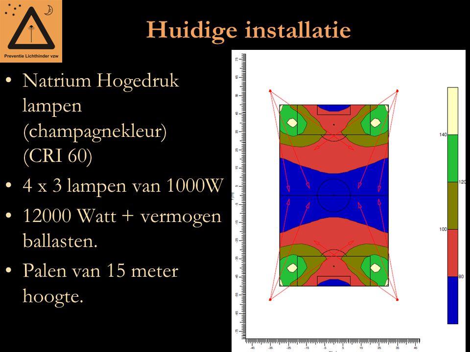 Huidige installatie Natrium Hogedruk lampen (champagnekleur) (CRI 60) 4 x 3 lampen van 1000W 12000 Watt + vermogen ballasten. Palen van 15 meter hoogt