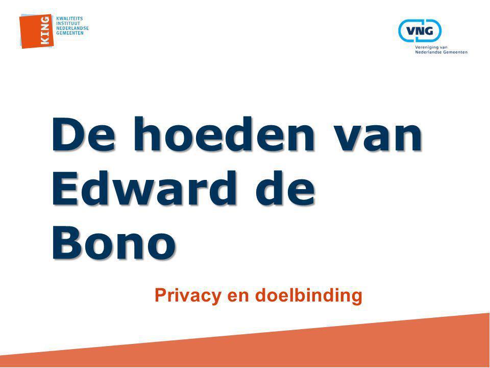 De hoeden van Edward de Bono Privacy en doelbinding