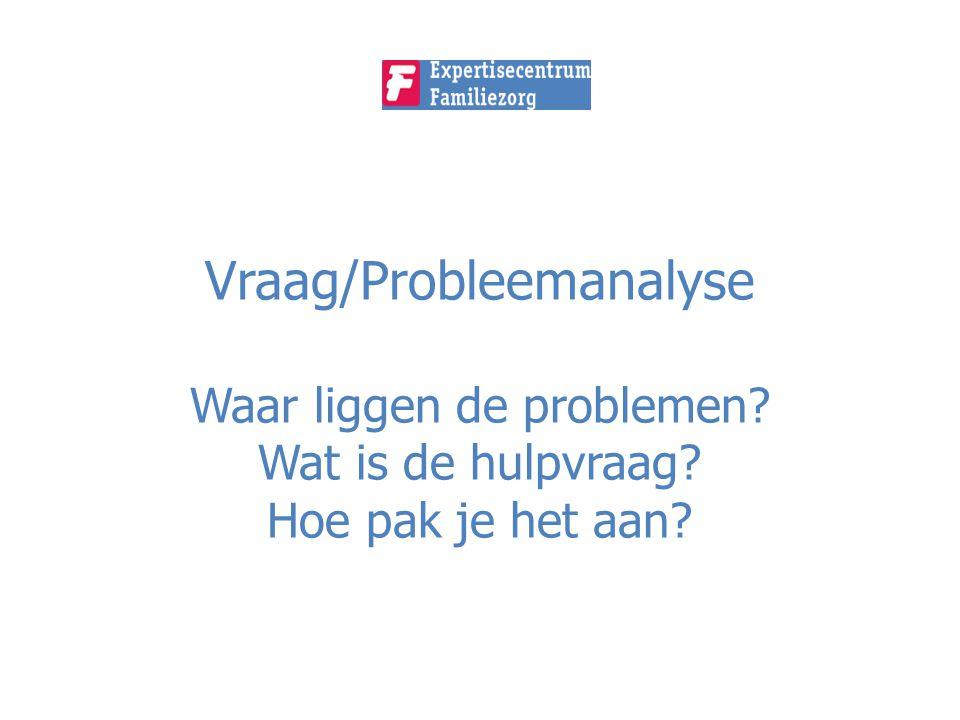 Vraag/Probleemanalyse Waar liggen de problemen? Wat is de hulpvraag? Hoe pak je het aan?