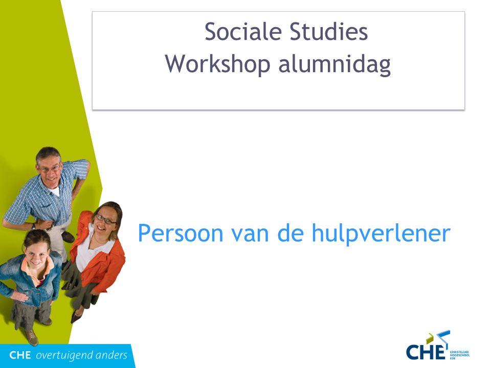 Sociale Studies Workshop alumnidag Persoon van de hulpverlener
