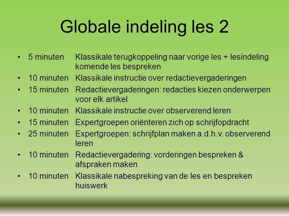 Globale indeling les 2 5 minutenKlassikale terugkoppeling naar vorige les + lesindeling komende les bespreken 10 minutenKlassikale instructie over red