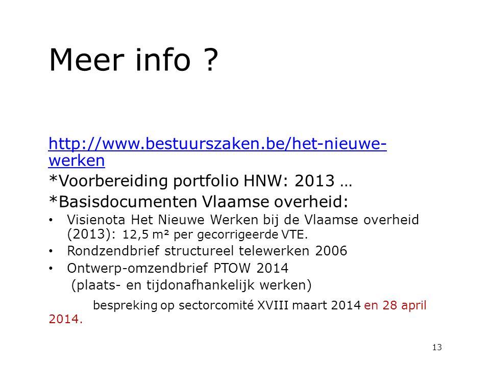 Meer info ? http://www.bestuurszaken.be/het-nieuwe- werken *Voorbereiding portfolio HNW: 2013 … *Basisdocumenten Vlaamse overheid: Visienota Het Nieuw