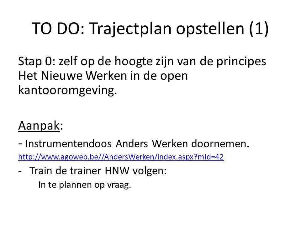 TO DO: Trajectplan opstellen (1) Stap 0: zelf op de hoogte zijn van de principes Het Nieuwe Werken in de open kantooromgeving. Aanpak: - Instrumentend