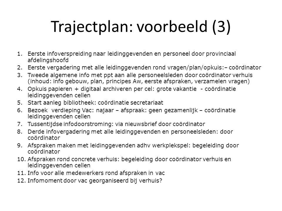 Trajectplan: voorbeeld (3) 1.Eerste infoverspreiding naar leidinggevenden en personeel door provinciaal afdelingshoofd 2.Eerste vergadering met alle l