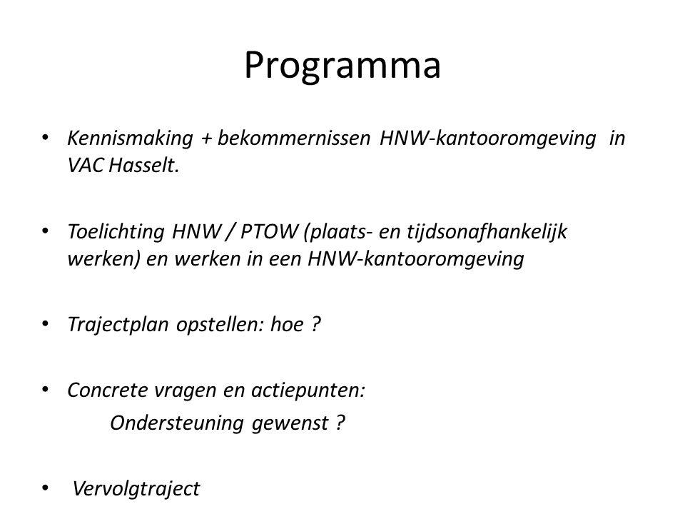 Programma Kennismaking + bekommernissen HNW-kantooromgeving in VAC Hasselt. Toelichting HNW / PTOW (plaats- en tijdsonafhankelijk werken) en werken in